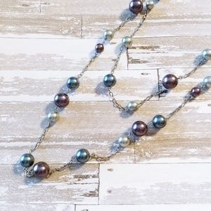 Liz Sophia Double Stand Colored Pearl Necklace